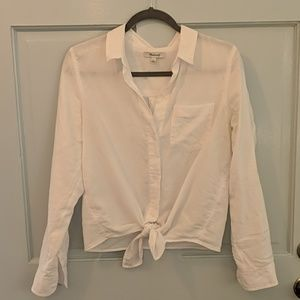 Madewell white button down tie-front
